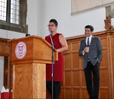 Associate Dean Sara Xayarath Hernandez introduces professor Keivan Stassun, Vanderbilt University
