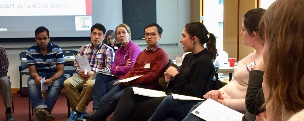 Veronica Dickson LaRotta ('18) leads an intergroup dialogue discussion at the Inclusive Teaching Institute