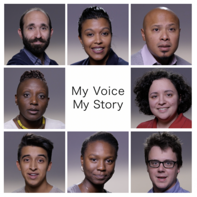 Eight images of graduate student aged individuals from diverse races and ethnicities, surrounding the worsd My Voice, My Story