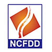 Blue lettering reading NCFDD with an orange logo showing a pathway or river
