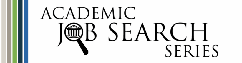 Academic Job Search Series logo with a magnifying glass over an academic building
