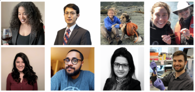Eight graduate students in a variety of settings
