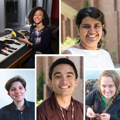 Images of five graduate students and postdoctoral scholars in posed, field, and lab photos